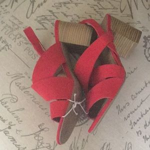 "Red Seychelles sandals size 7 stacked 3"" heels"
